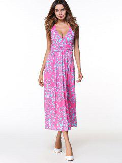 Printed Long Plunge V Neck  Tank Dress - Rose Red Xl