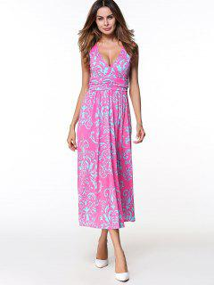 Printed Long Plunge V Neck  Tank Dress - Rose Red M
