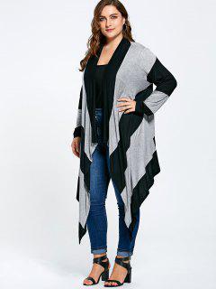 Striped Plus Size Long Asymmetric Cardigan - Black And Gray 3xl