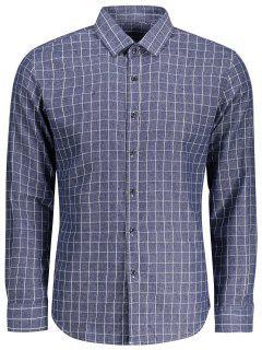 Camisa De Manga Larga De Tela Escocesa - Azul 3xl