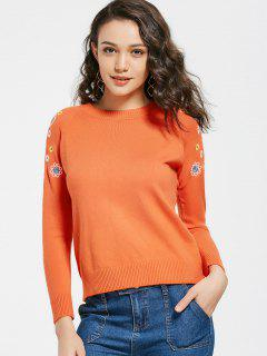 Pull Brodé Floral Col Rond - Orange Clair