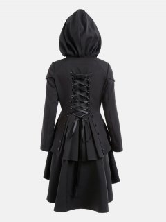 Layered Lace Up High Low Hooded Coat - Black Xl