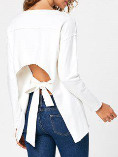 Self Tie Cut Out Back Long Sleeve Top - White M