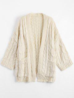 Front Pocket Cable Knitted Cardigan - Beige