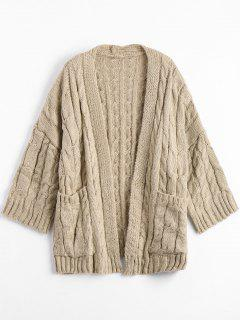 Front Pocket Cable Knitted Cardigan - Khaki