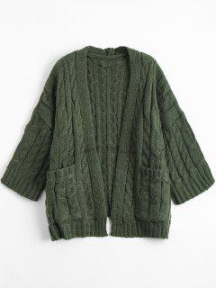 Front Pocket Cable Knitted Cardigan - Army Green