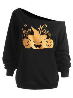 Plus Size Happy Halloween Pumpkin Sweatshirt - Black 3xl