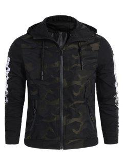 Camo Side Letter Hooded Jacket - Black 3xl