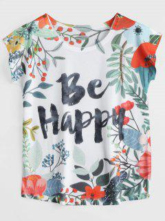 Be Happy Letter Floral Printed Tee - Multi M