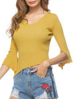 Flare Sleeve Asymmetric Sweater - Ginger