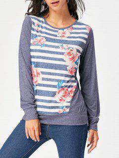 Striped Floral Print T-shirt - Purplish Blue Xl