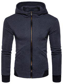 Hooded Rib Panel Fleece Zip Up Hoodie - Deep Gray M
