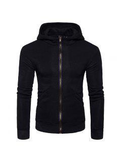 Hooded Rib Panel Fleece Zip Up Hoodie - Black M