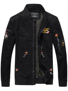 Map Of China Embroidery Bomber Jacket - Black M