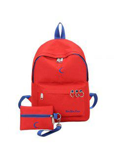 2 Pieces Embroidery Color Block Backpack Set - Red