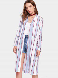 Button Up Gestreifte Maxi Bluse - Windig S