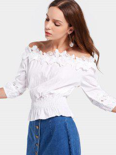 Lace Panel Aus Der Schulter Bluse - Weiß