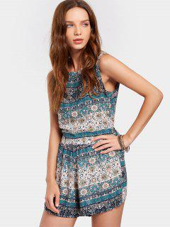 Tribal Print Backless Sleeveless Two Piece Suit - Multi L