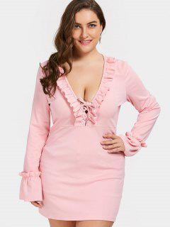 Tiefer Hals Rüschen Plus Size Kleid - Pink Xl