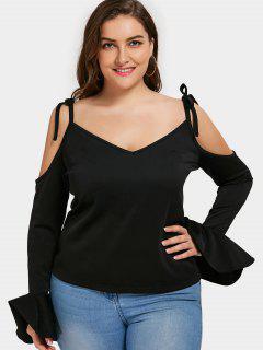 Bell Sleeve Cold Shoulder Plus Size Top - Black 5xl