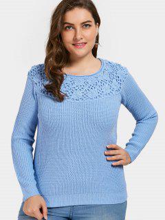 Floral Plus Size Sweater - Blue 5xl
