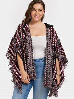 Plus Size Fringe Poncho Cardigan - Dark Red