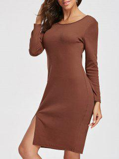 Knee Length Long Sleeve Slit Dress - Camel M
