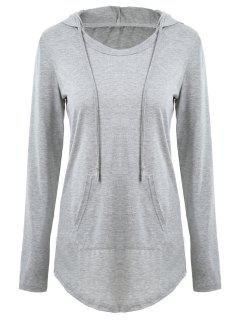 Drawstring Kangaroo Pocket Tunic Hoodie - Gray L