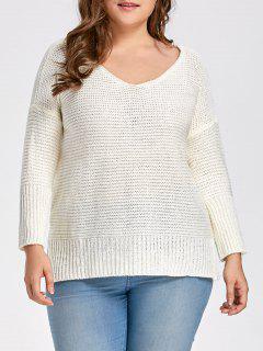 Plus Size Drop Shoulder Side Slit Sweater - Milk White 2xl