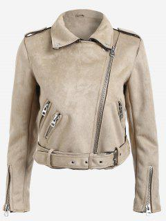 Lapel Zipper Pockets Suede Jacket - Light Khaki M