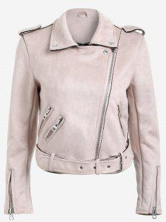 Lapel Zipper Pockets Suede Jacket - Pink L