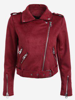 Lapel Zipper Pockets Suede Jacket - Red S