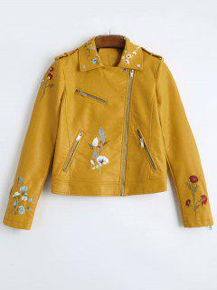 Floral Patched Zippered Faux Leather Jacket - Ginger L