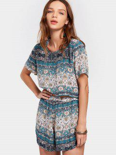 Ensemble Tribal Print Top Et Shorts - Multi S