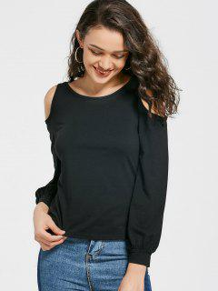 Ring Connected Cold Shoulder Tee - Black M