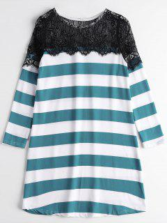 Stripes Lace Panel Casual Tee Dress - Green M