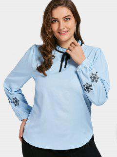 Embroidered Ruffled Plus Size Top - Blue 4xl