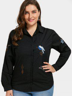 Plant Embroidered Plus Size Shirt - Black Xl