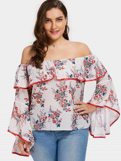 Plus Size Floral Ruffle Off The Shoulder Top - Floral 3xl