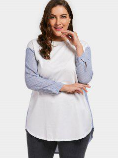 Striped Panel Plus Size Tunic - White 3xl