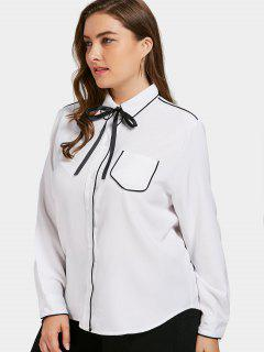 Plus Size Contrast Trim Shirt - White 2xl