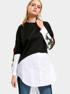 Two Tone Embroidered Patched Blouse - White And Black S