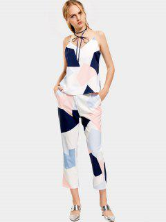 Geometric Contrasting Tank Top And Ninth Straight Pants - Multicolor L