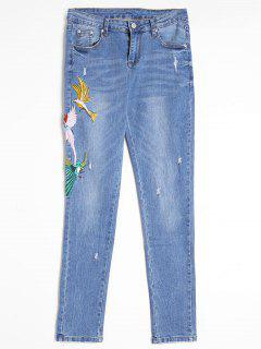 Ripped Bird Embroidered Jeans - Blue L