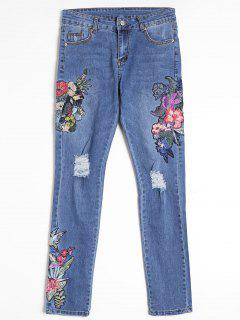 Flower Embroidered Ripped Straight Jeans - Blue L