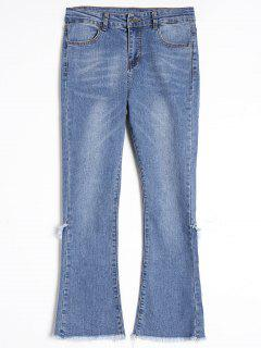 Frayed Hem Boot Cut Jeans - Blue L