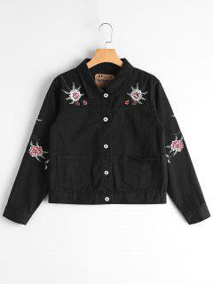 Button Up Floral Embroidery Denim Jacket - Black M