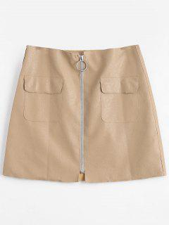 Zipper Fly High Waisted Mini Skirt - Apricot L
