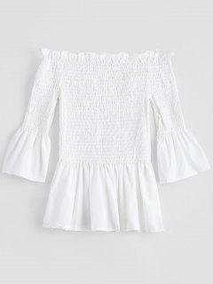 Bell Sleeve Off The Shoulder Smocked Blouse - White M