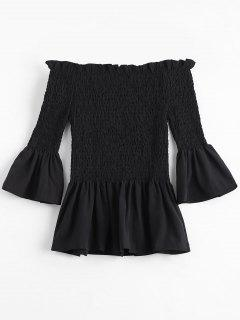 Bell Sleeve Off The Shoulder Smocked Blouse - Black L